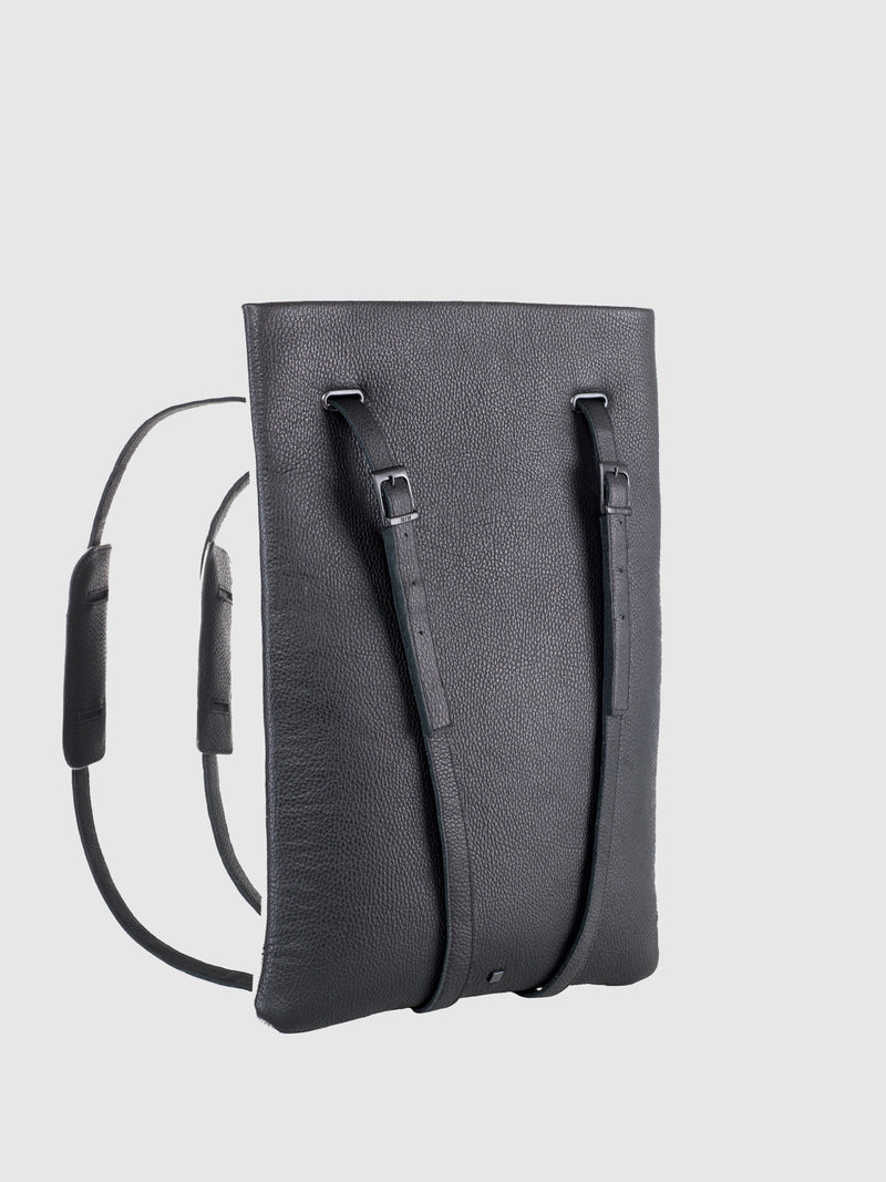 Maria Maleta Black Leather Reversible Backpack