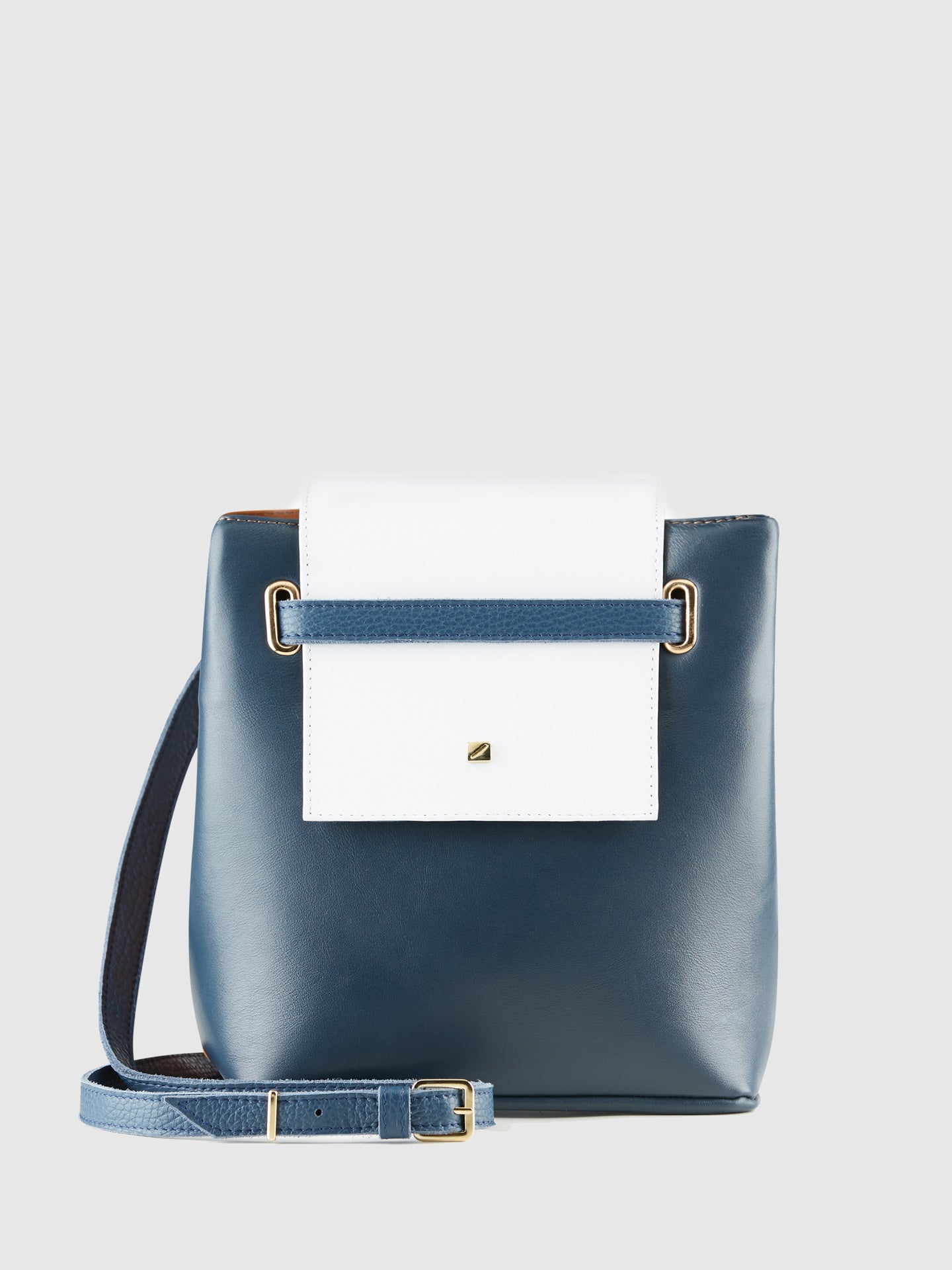 Maria Maleta Blue and Camel Crossbody Bag