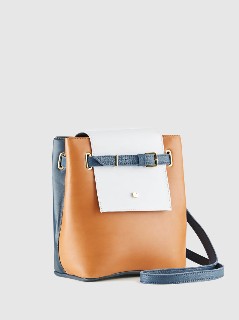 Blue and Camel Crossbody Bag