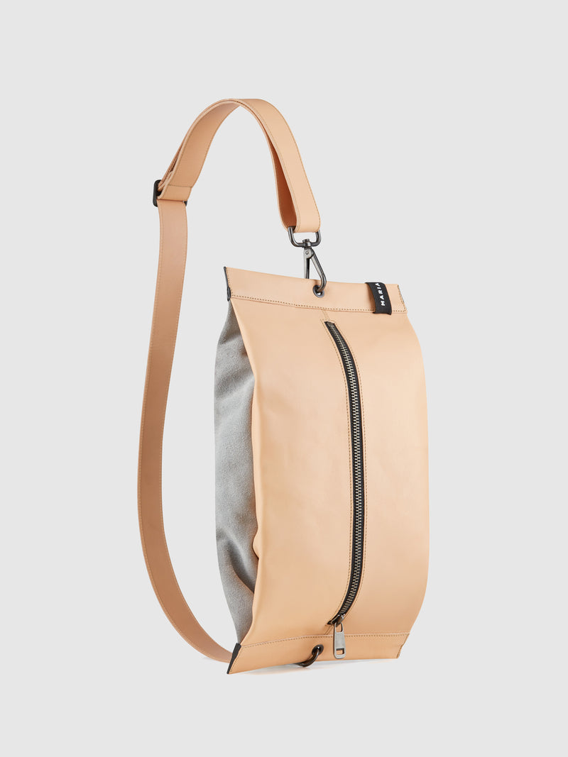 Beige and Gray Reversible Crossbody Bag