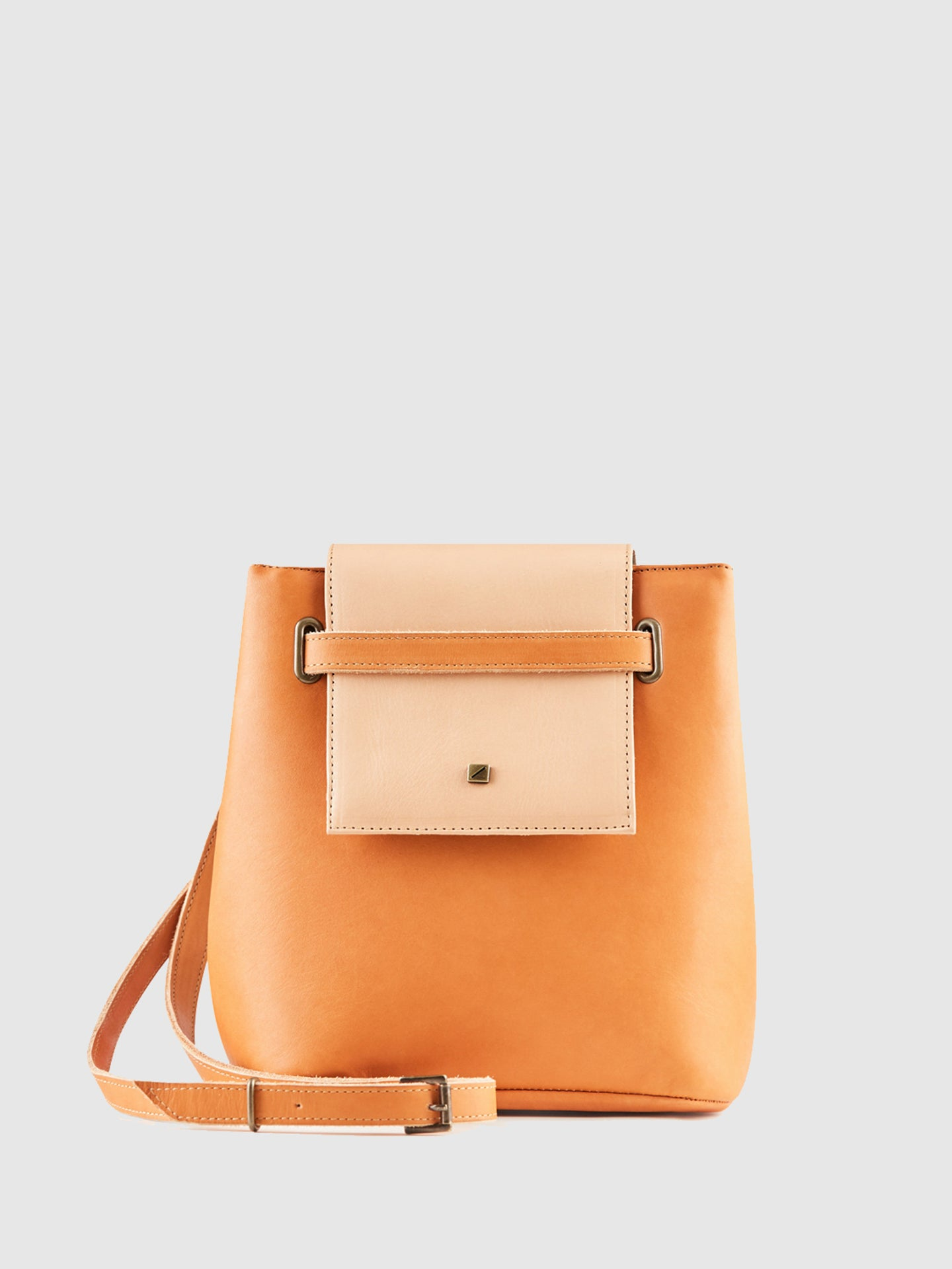 Maria Maleta Blue and Camel Reversible Crossbody Bag