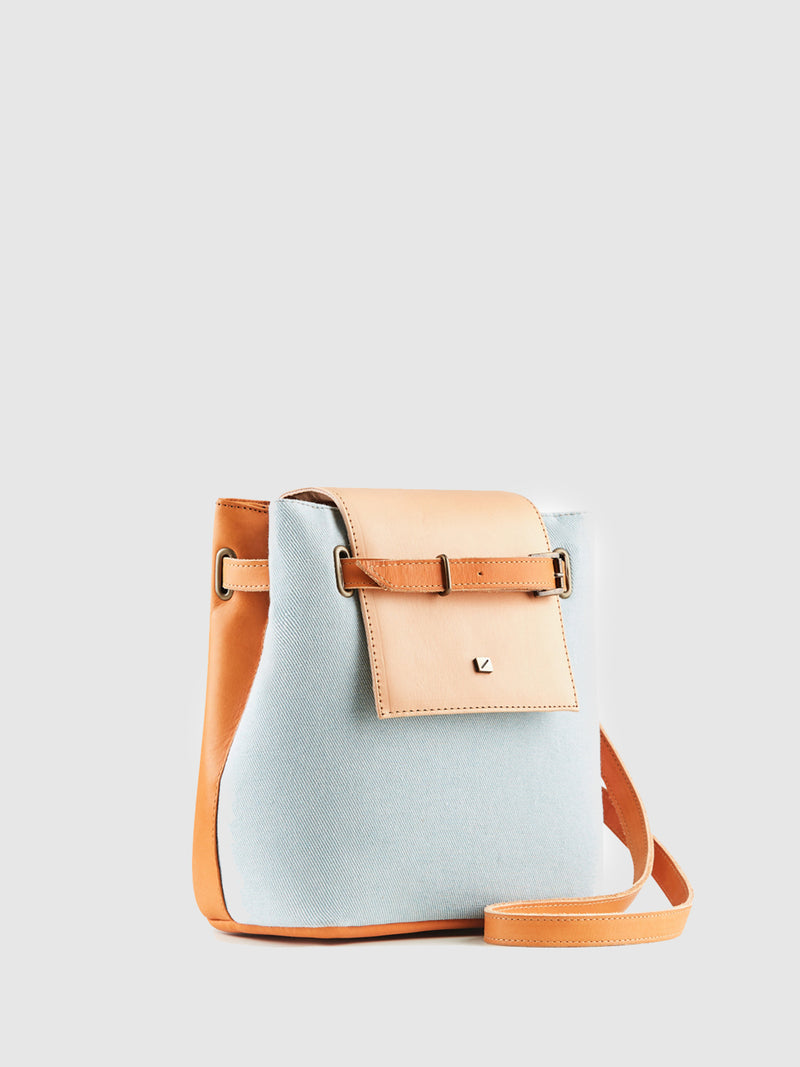 Blue and Camel Reversible Crossbody Bag