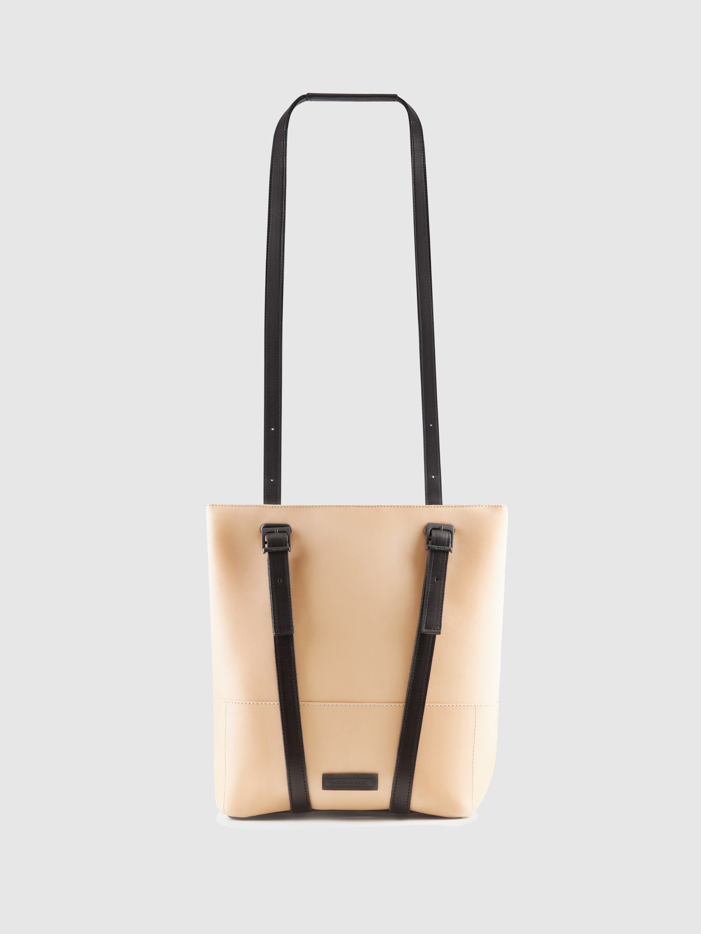 Maria Maleta Beige Leather Reversible Backpack