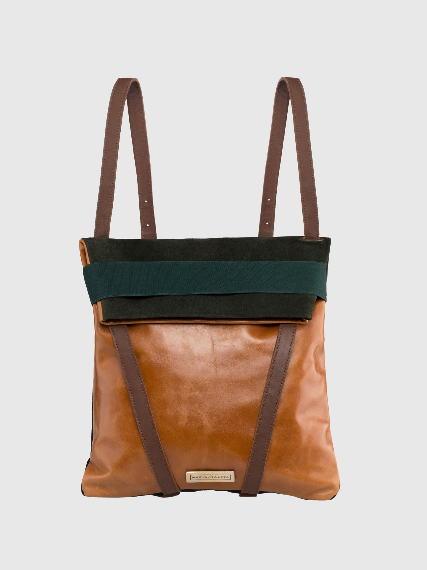 Maria Maleta Brown and Green Reversible Backpack