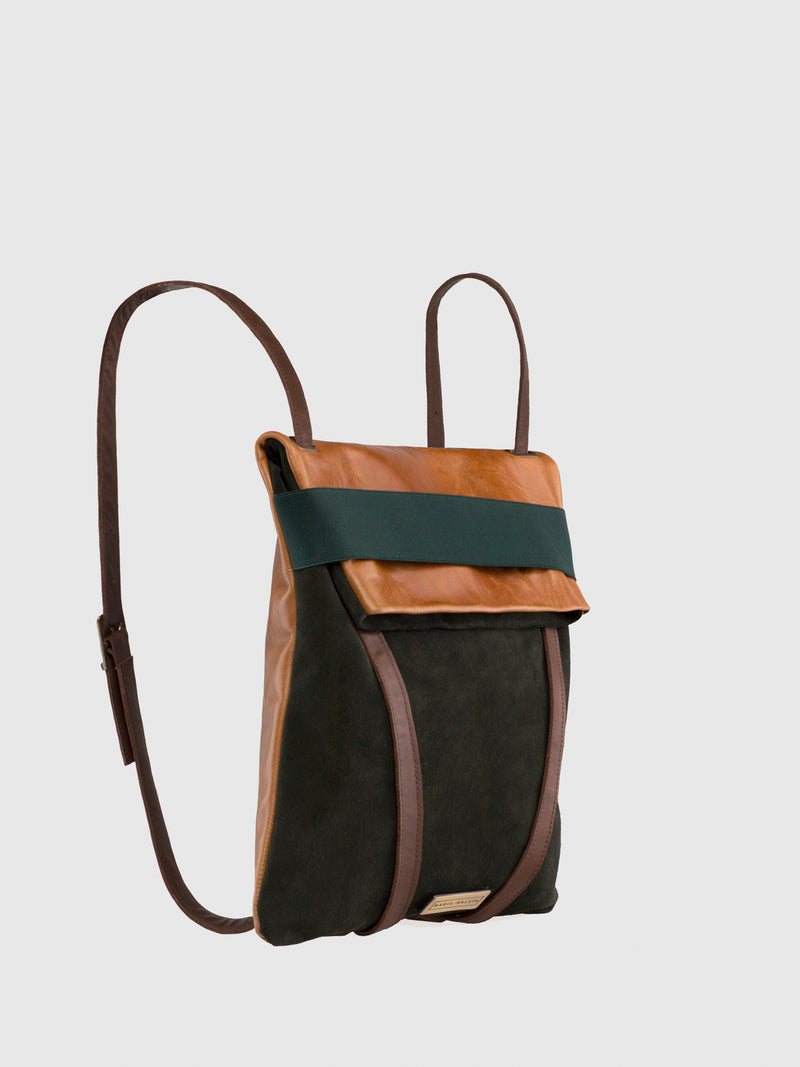 Brown and Green Reversible Backpack