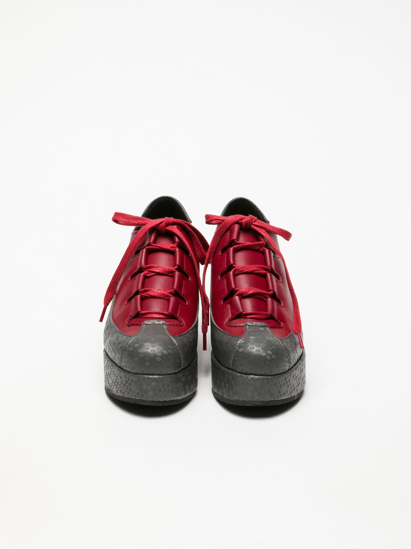 Marita Moreno Red Lace-up Shoes