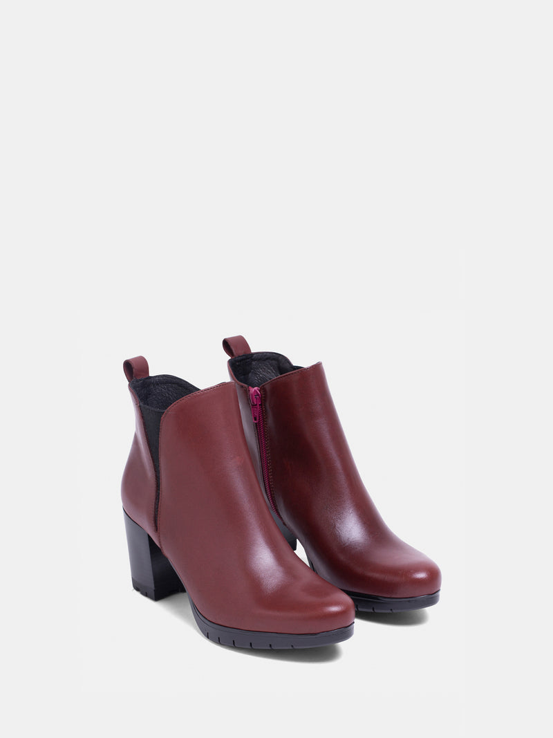 DarkRed Elasticated Ankle Boots