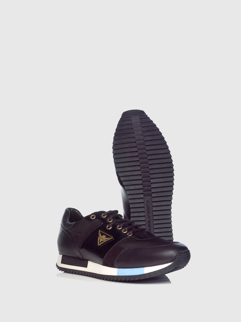 Miguel Vieira Black Mix Lace-up Trainers