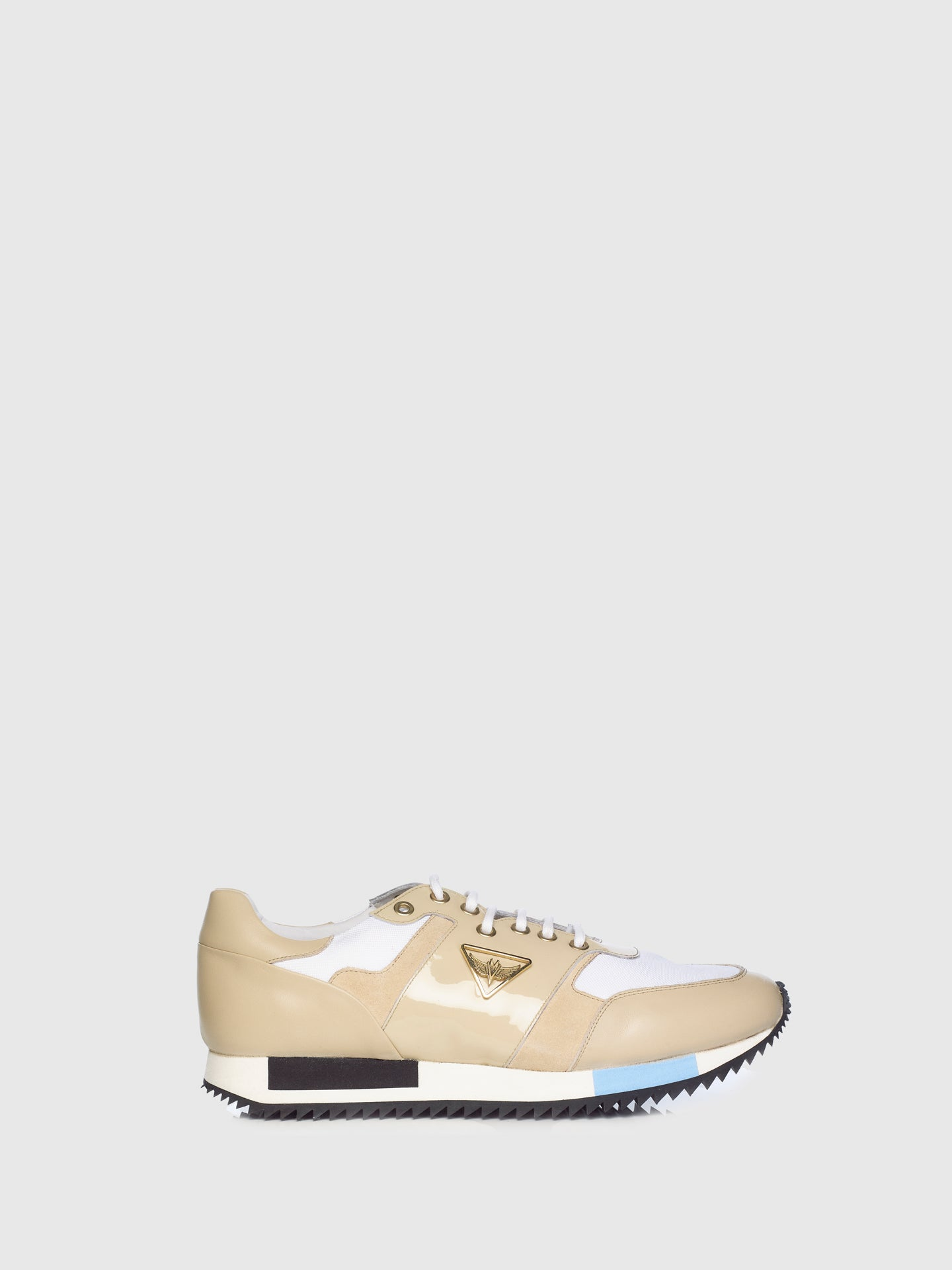 Miguel Vieira Beige Mix Lace-up Trainers