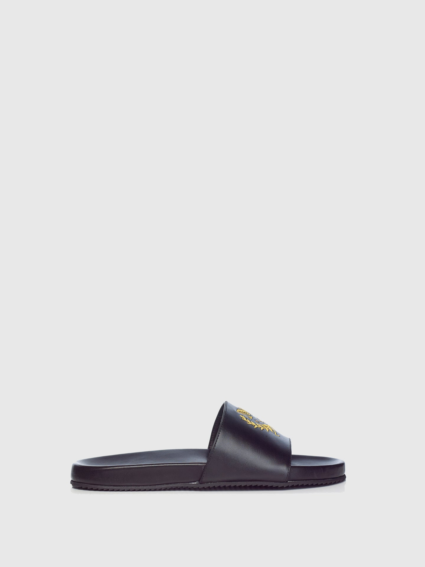 Miguel Vieira Black Embroidered Slides