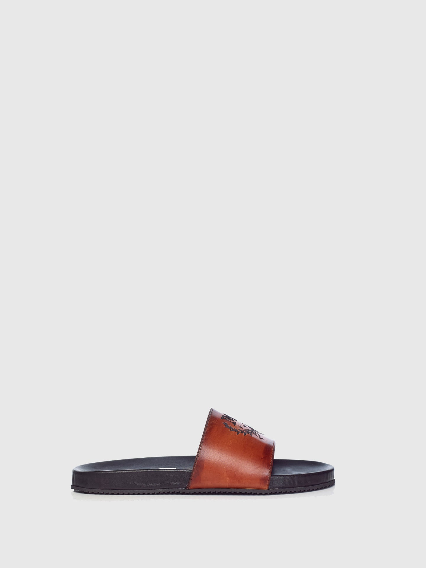 Miguel Vieira Brown Embroidered Slides