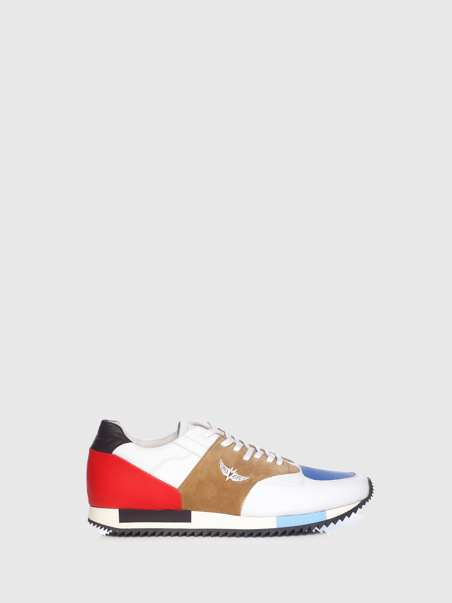 Miguel Vieira Blue Camel Mix Lace-up Trainers