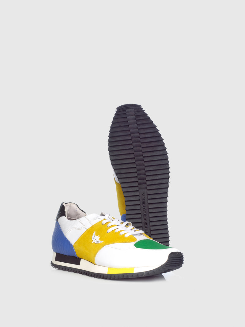 Miguel Vieira Green Yellow Mix Lace-up Trainers