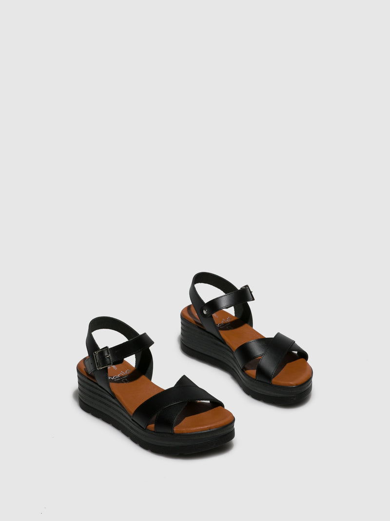 Marila Shoes Black Wedge Sandals