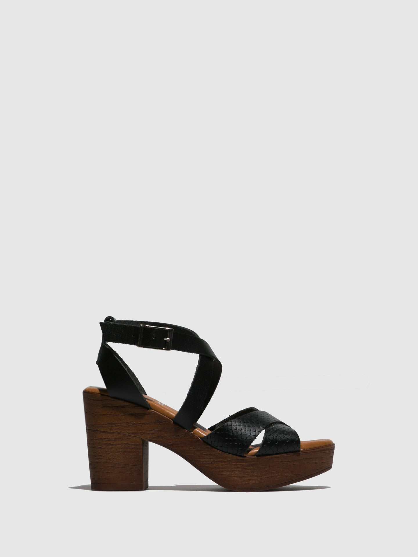 Marila Shoes Black Crossover Sandals