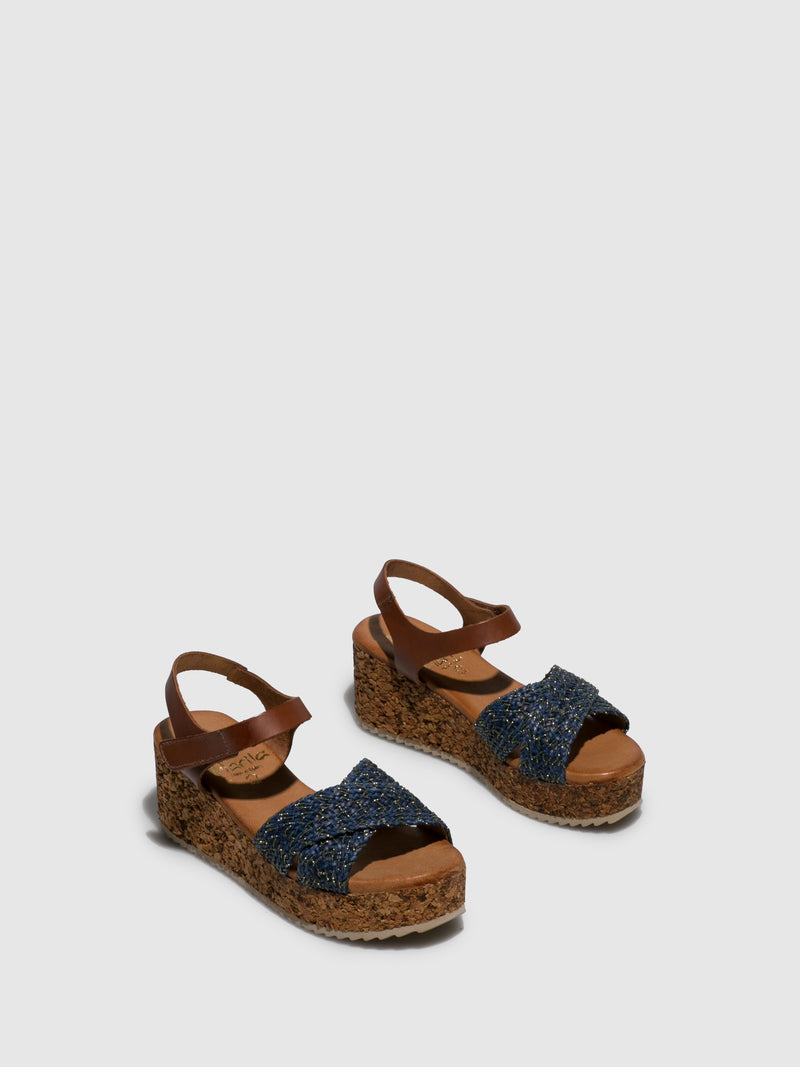 Marila Shoes Blue Wedge Sandals