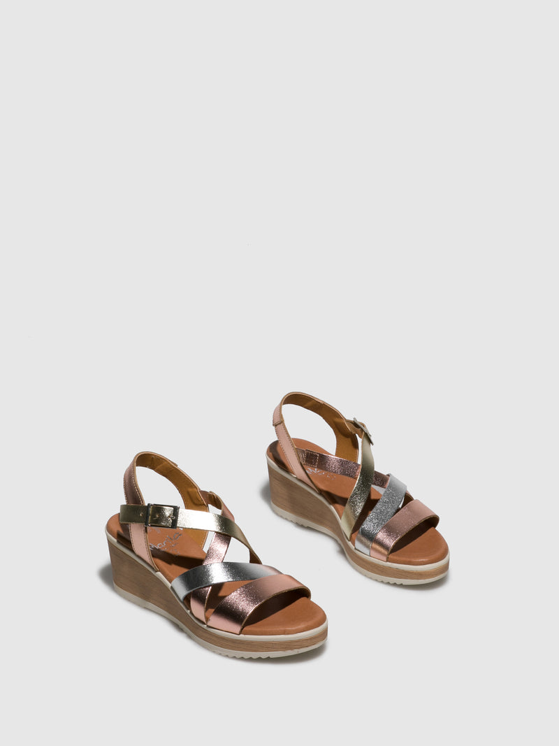 Brown Leather Wedge Sandals
