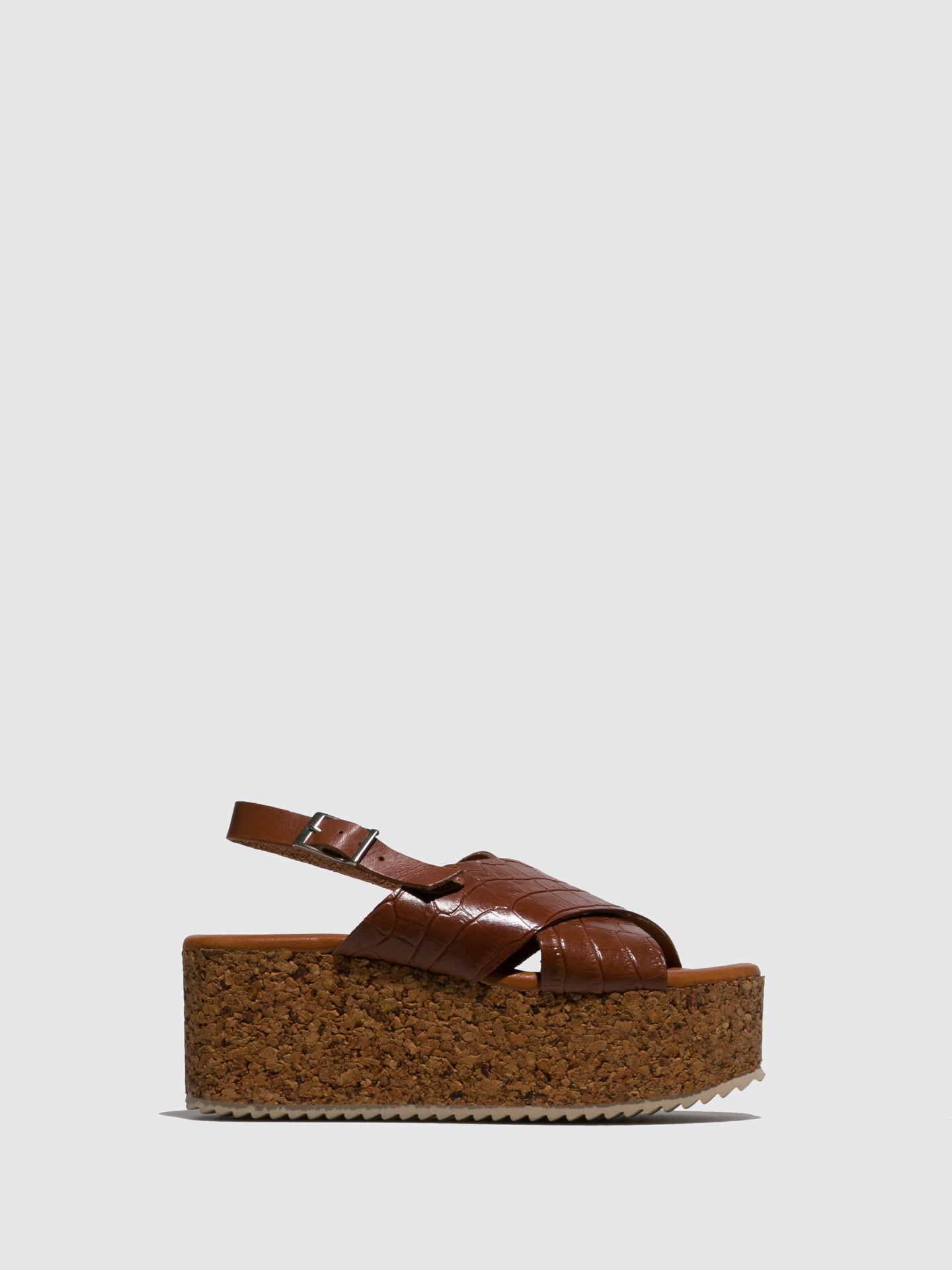 Marila Shoes Brown Leather Platform Sandals
