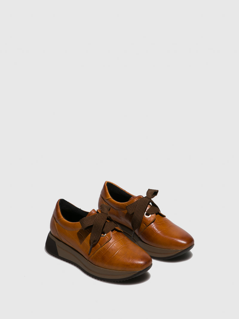 Marila Shoes Brown Leather Platform Trainers