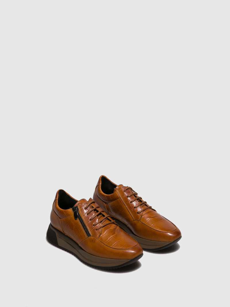 Brown Leather Platform Trainers
