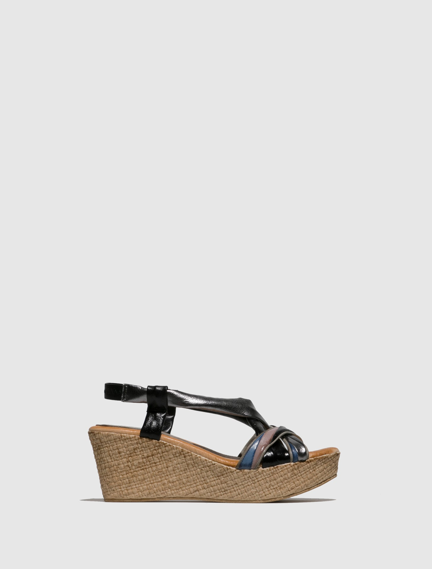 Marila Shoes Silver Black Wedge Sandals
