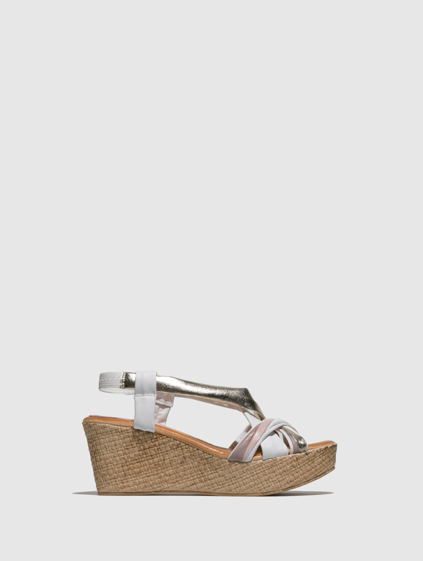 Marila Shoes Gold White Wedge Sandals