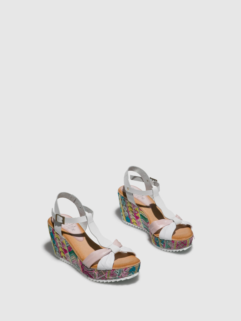 Marila Shoes Pink White Wedge Sandals