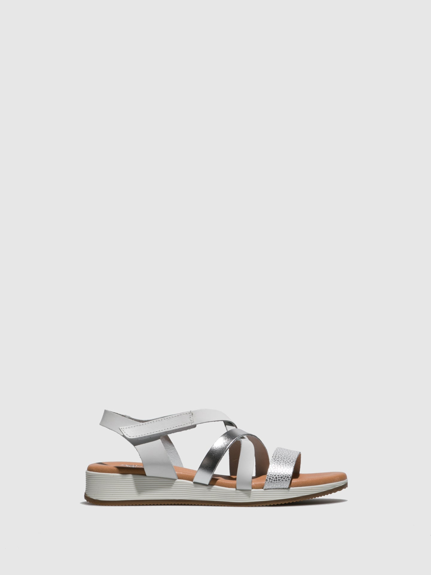 Marila Shoes Silver White Velcro Sandals