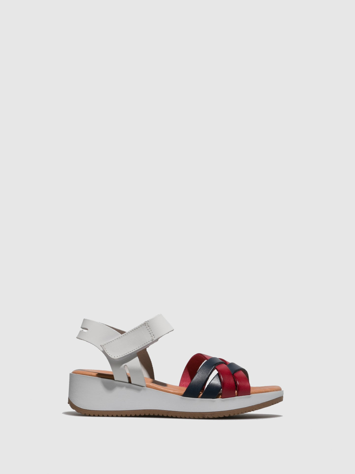 Marila Shoes Red White Velcro Sandals
