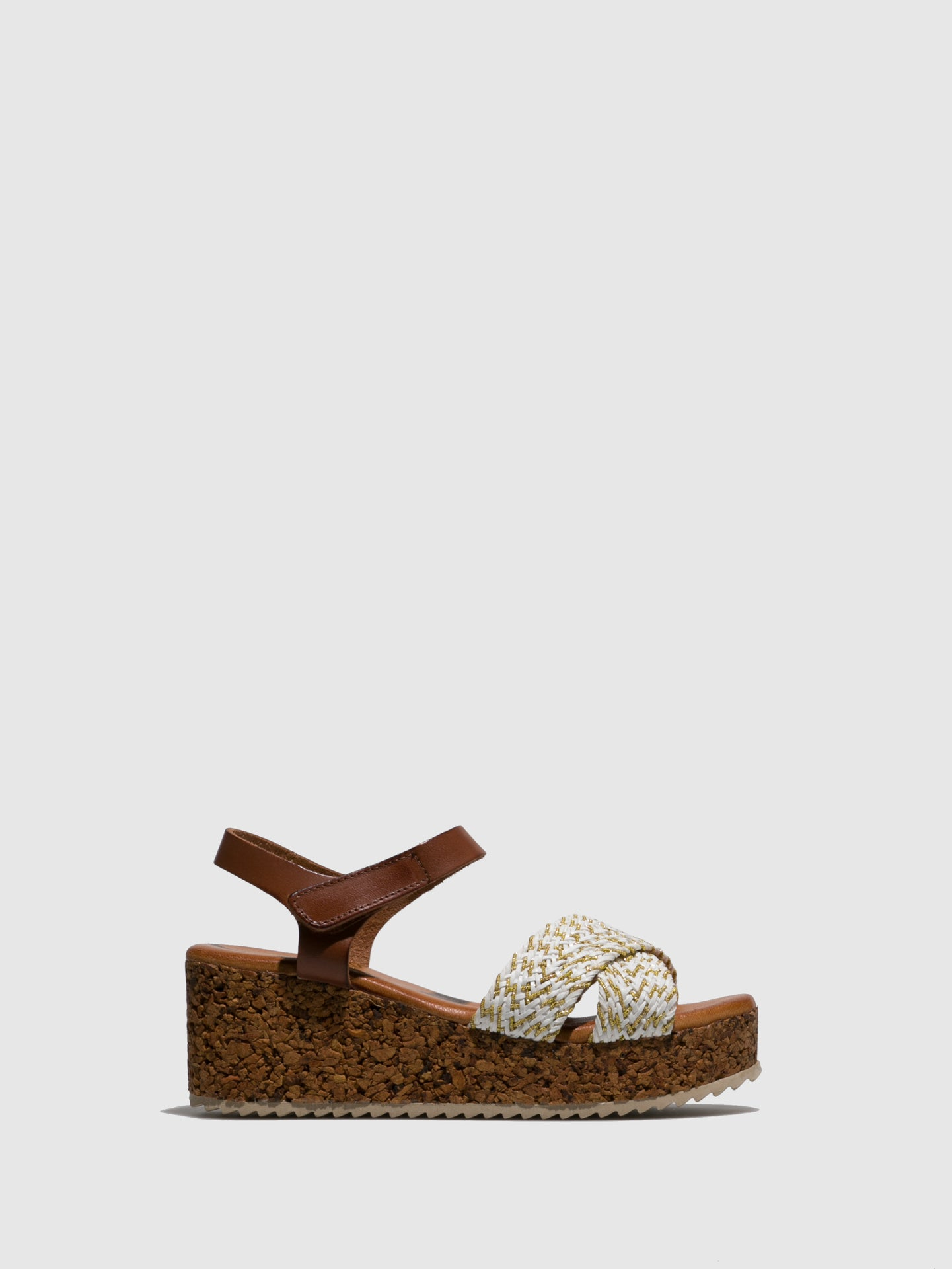 Marila Shoes Brown White Wedge Sandals