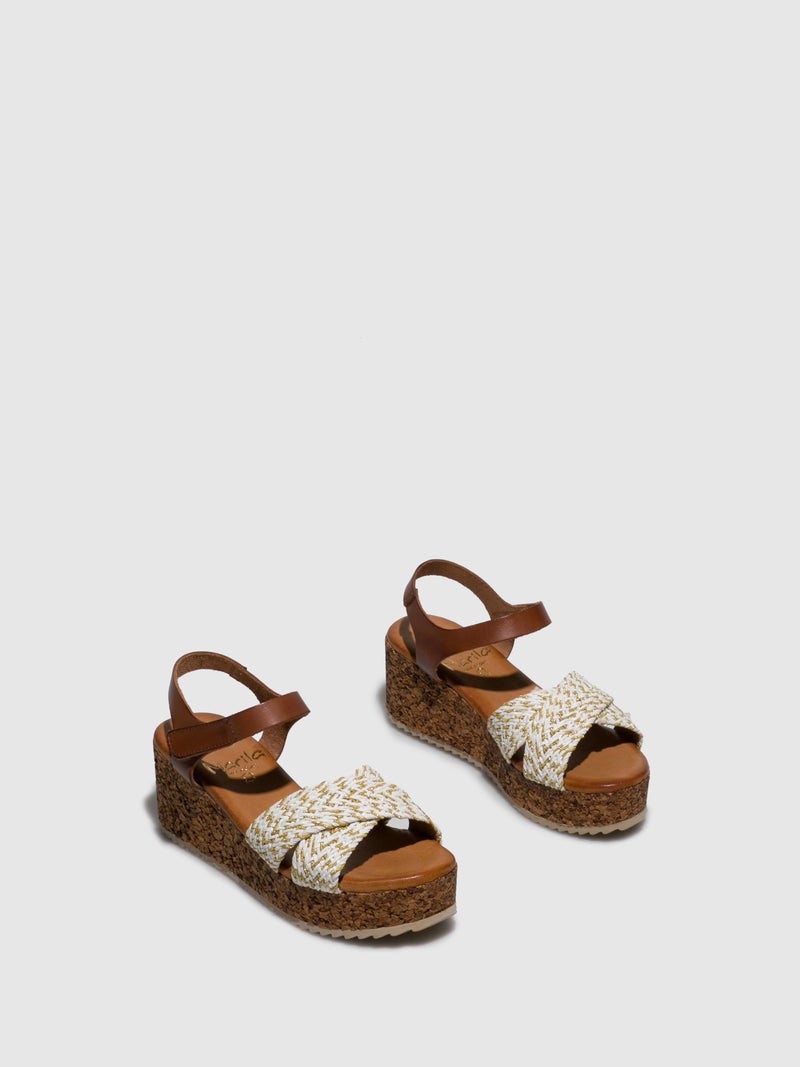 Brown White Wedge Sandals