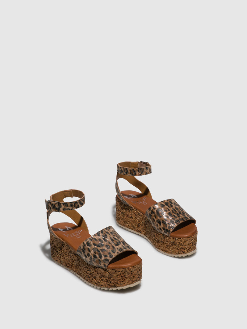 Marila Shoes Brown Black Platform Sandals