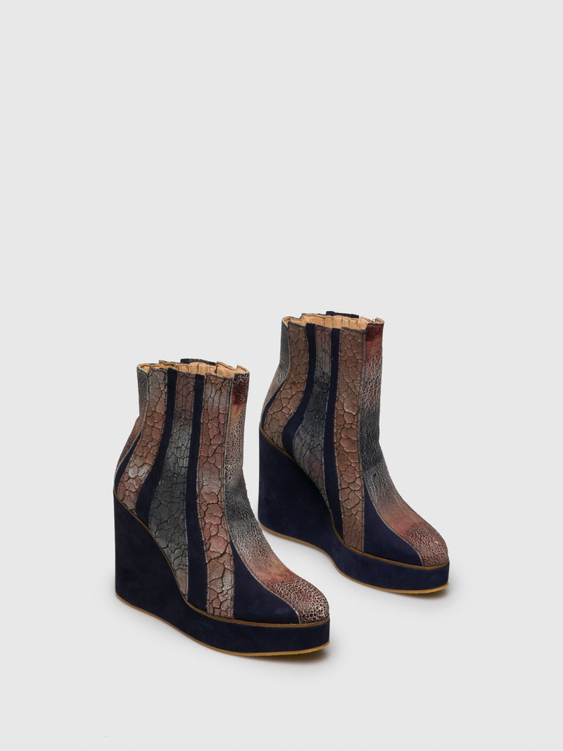 Multicolor Wedge Boots