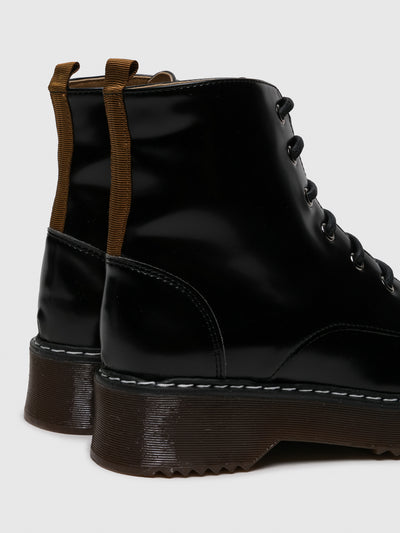 NAE Vegan Shoes Black Lace-up Ankle Boots