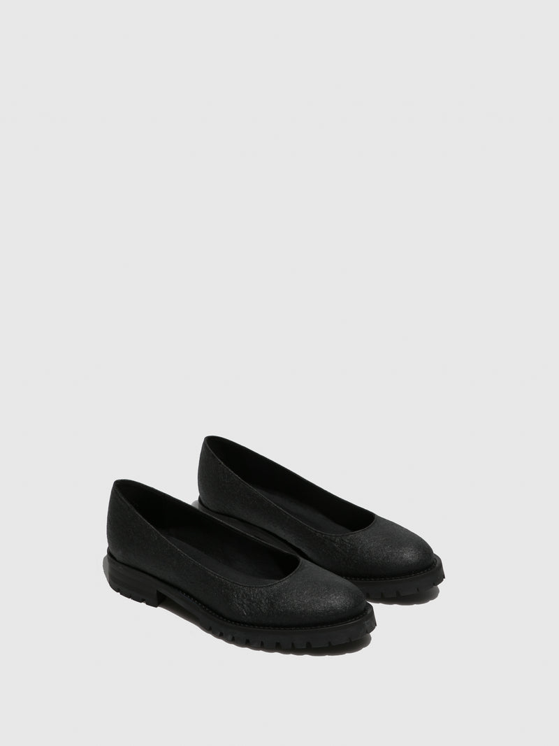 Black Round Toe Ballerinas