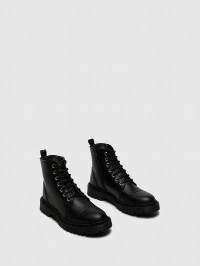 NAE Vegan Shoes Black Tractor Boots