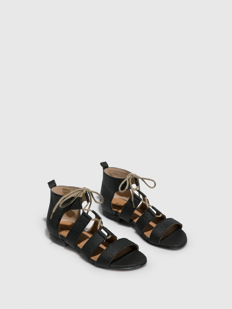 NAE Vegan Shoes Black Strappy Sandals