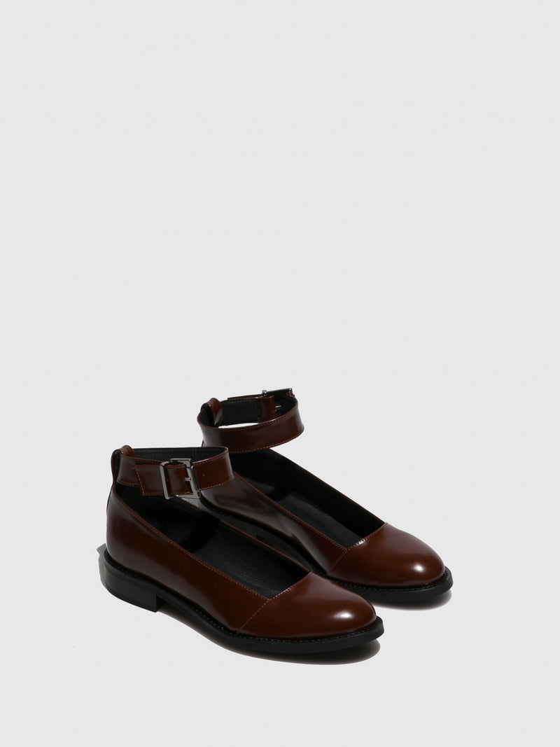Brown Round Toe Ballerinas