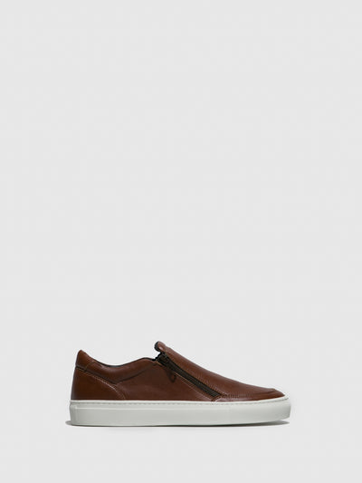 NAE Vegan Shoes Brown Zip Up Trainers