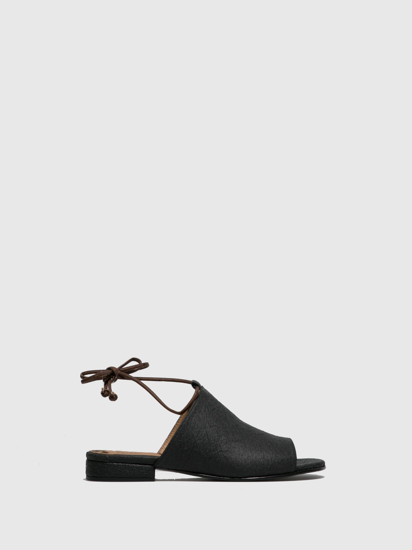 NAE Vegan Shoes Black Lace-up Sandals