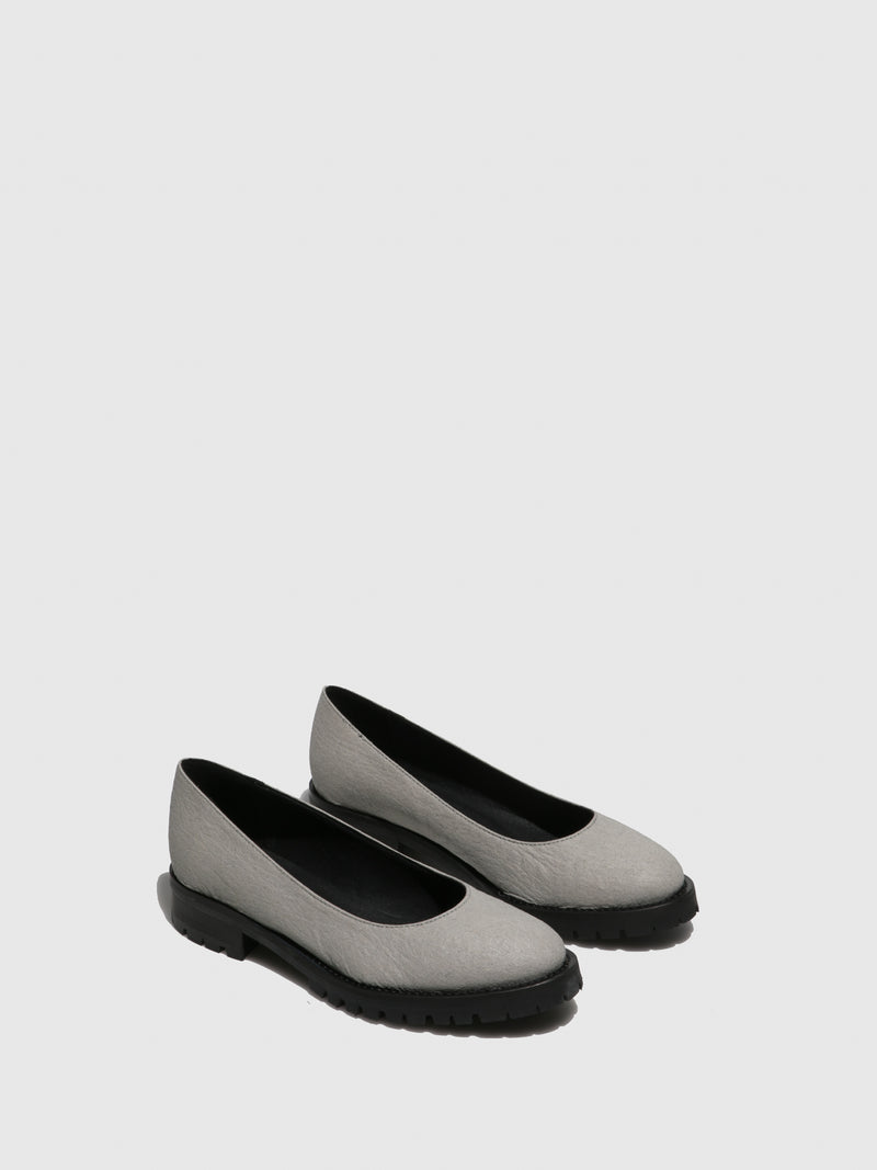 Gray Round Toe Ballerinas