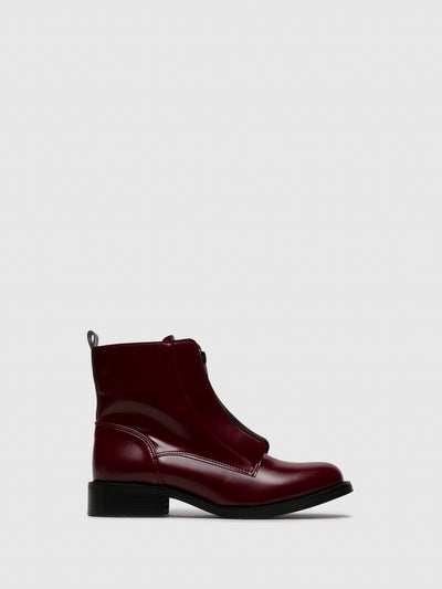 NAE DarkRed Zip Up Ankle Boots