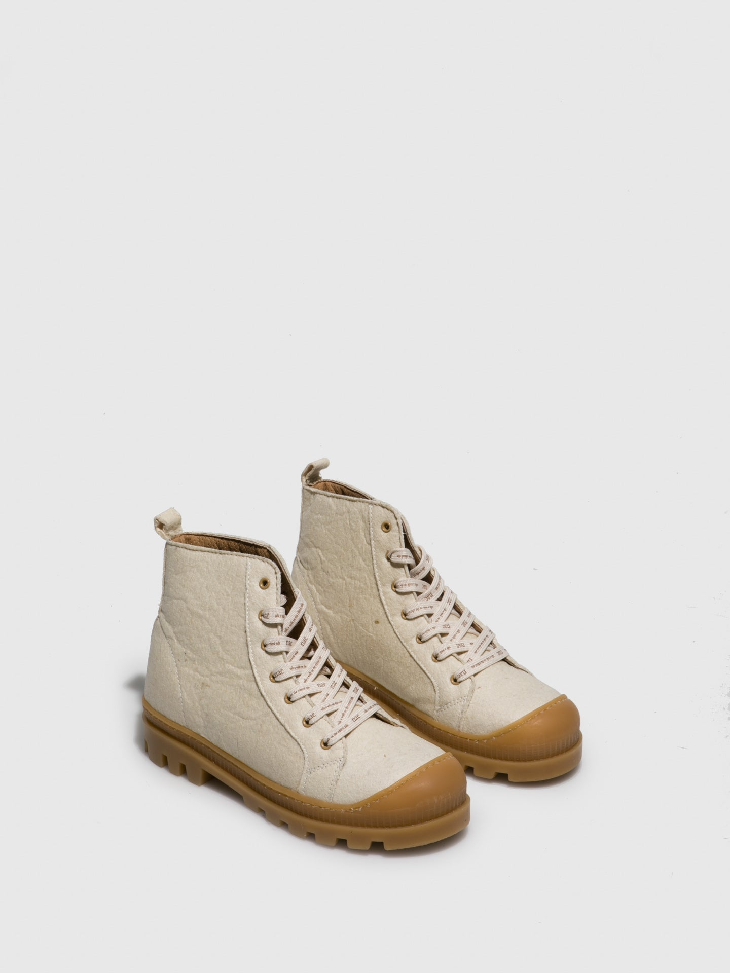 NAE Vegan Shoes White Lace-up Boots
