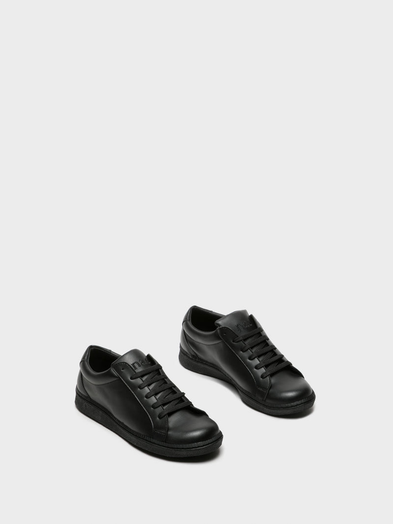 NAE Vegan Shoes Black Lace-up Trainers