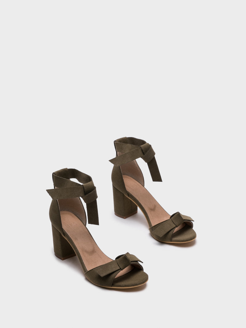 NAE Vegan Shoes Green Ankle Strap Sandals