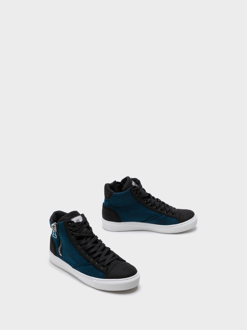 NAE Vegan Shoes Blue Hi-Top Trainers