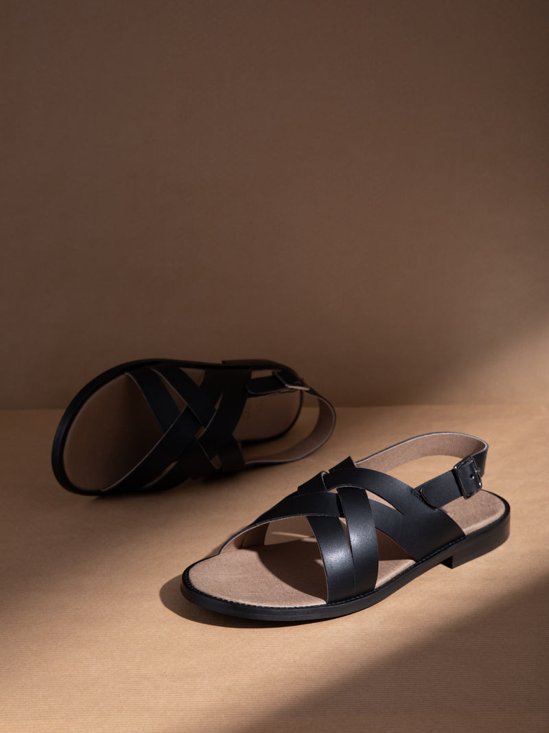 NAE Vegan Shoes Black Buckle Sandals