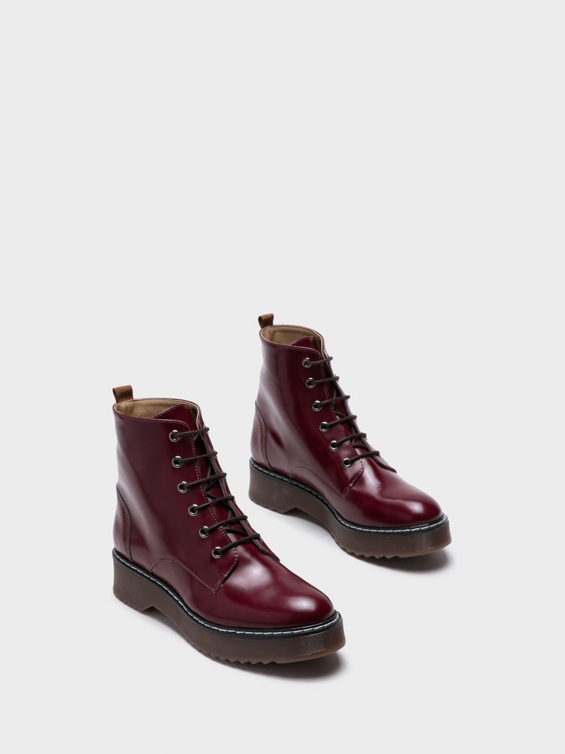 DarkRed Lace-up Boots