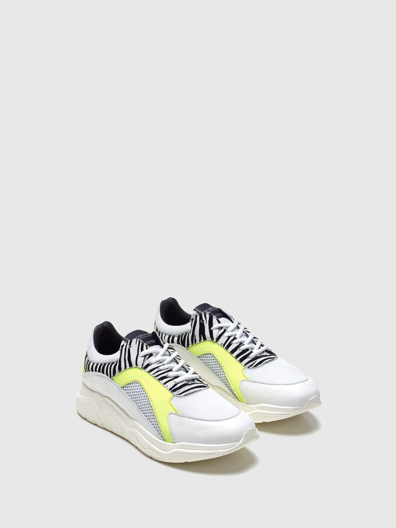 Nobrand White Lace-up Trainers