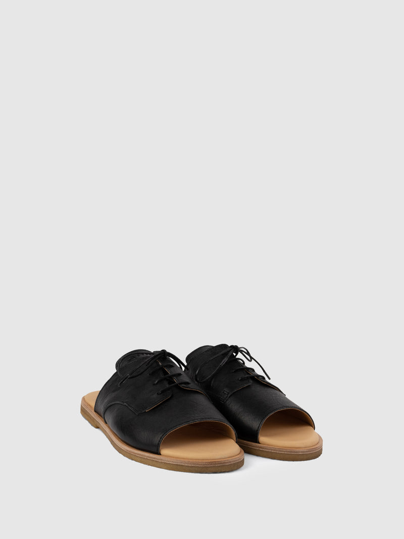 Only2me Black Flat Sandals